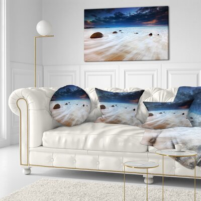 Waves Flowing over Boulders Seashore Photo Throw Pillow Size: 16 x 16