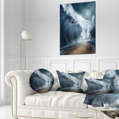 Waves over the Parted Sea Path Seashore Throw Pillow Size: 20 x 20