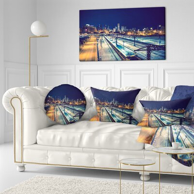 Welcome in Chicago Highway Traffic Cityscape Throw Pillow Size: 16