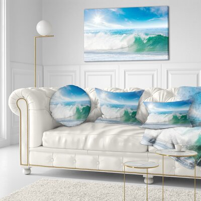 Waves Under Sun Seascape Throw Pillow Size: 16 x 16