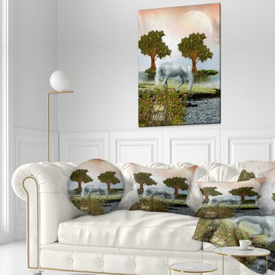 Horse and Trees Landscape Printed Throw Pillow Size: 16 x 16