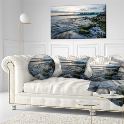 Waves Hitting Rocky Seashore Seashore Throw Pillow Size: 16 x 16