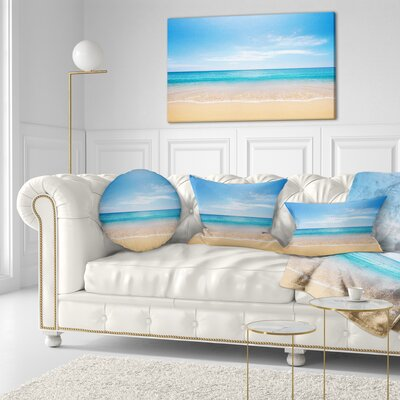 Wide Sky over Beach Seashore Photo Throw Pillow Size: 16 x 16