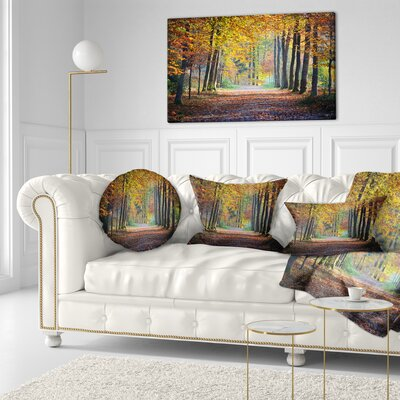 Wide Pathway in Fall Forest Landscape Photography Throw Pillow Size: 20 x 20