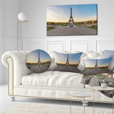 Wide View of Paris Eiffel Tower at Sunrise Cityscape Throw Pillow Size: 16 x 16
