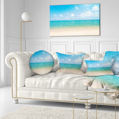 Wide View of Tropical Beach Seashore Photo Throw Pillow Size: 16 x 16
