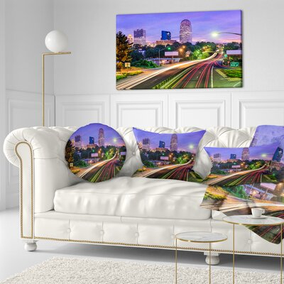 Winston Salem North Carolina Cityscape Throw Pillow Size: 16 x 16