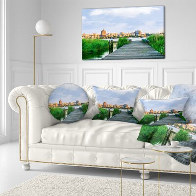Wooden Bridge to River Warnow Landscape Printed Throw Pillow Size: 16 x 16