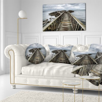 Wooden Pier on North Irish Coastline Sea Bridge Throw Pillow Size: 20 x 20