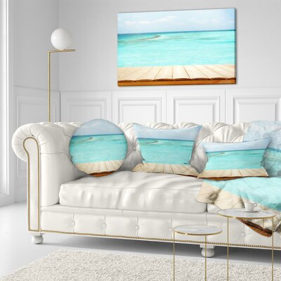 Wooden Planks on Sea Background Seascape Throw Pillow Size: 20 x 20