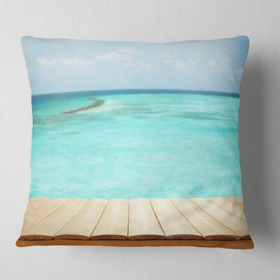 Wooden Planks on Sea Background Seascape Pillow Size: 16 x 16, Product Type: Throw Pillow