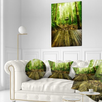 Wooden Platform in Forest Landscape Photography Throw Pillow Size: 16 x 16