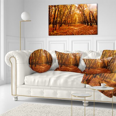 Falling Leaves in Forest Landscape Photo Throw Pillow Size: 16 x 16