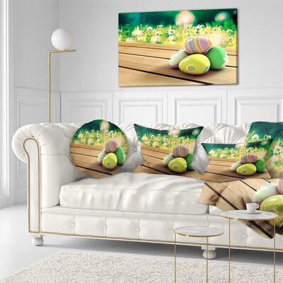Easter Eggs Landscape Photo Throw Pillow Size: 16 x 16