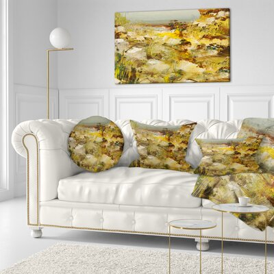 Stones Heavily Textured Landscape Painting Throw Pillow Size: 20 x 20