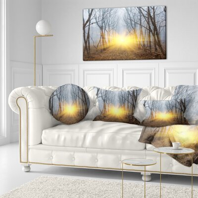 Sun Rays in Misty Forest Landscape Photography Throw Pillow Size: 16 x 16