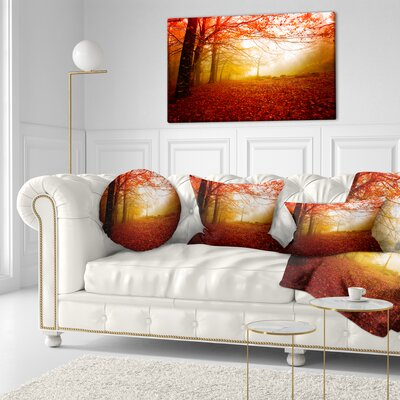 Sun Rays in Forest Landscape Photography Throw Pillow Size: 16 x 16