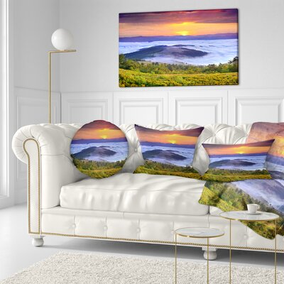 Sunrise over Water Landscape Photo Throw Pillow Size: 16 x 16
