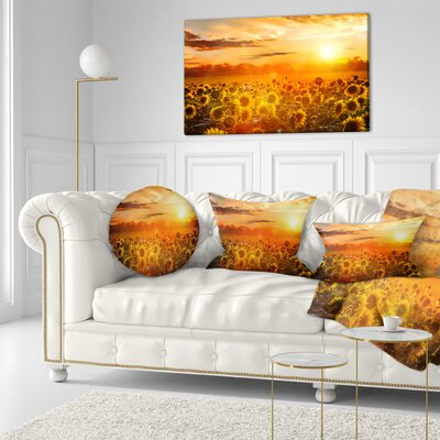 Sunset over Sunflowers Floral Throw Pillow Size: 16 x 16