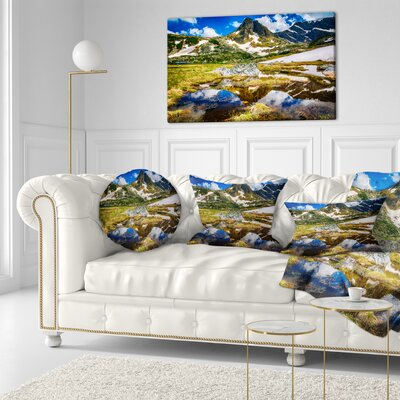 Stunning Mountains in Rila Lakes District Landscape Printed Throw Pillow Size: 16 x 16