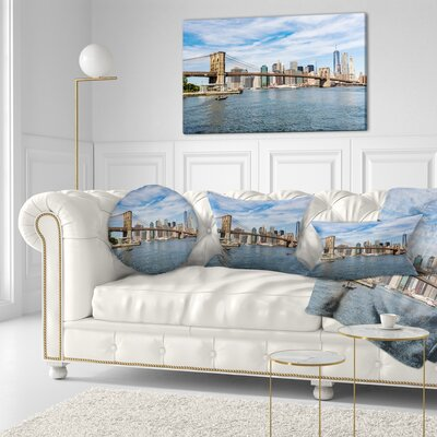 Summer Day Brooklyn Bridge Cityscape Throw Pillow Size: 16 x 16