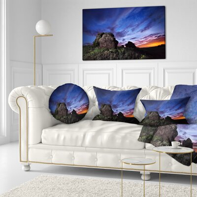 Summer Night Sky Landscape Photography Throw Pillow Size: 16 x 16