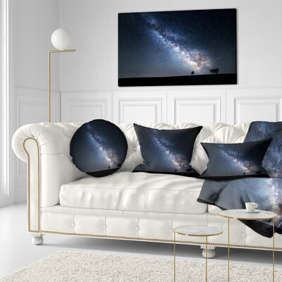Summer Night with Stars in Crimea Landscape Photography Throw Pillow Size: 20 x 20