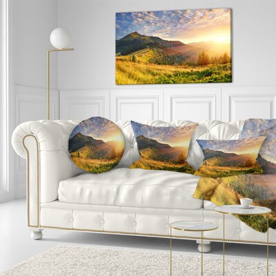 Summer Sunrise Under Thick Clouds Landscape Photography Throw Pillow Size: 20 x 20