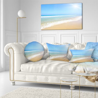 Sun over Tropical Beach Seashore Photo Throw Pillow Size: 20 x 20