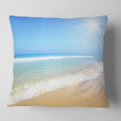 Sun over Tropical Beach Seashore Photo Pillow Size: 18 x 18, Product Type: Throw Pillow