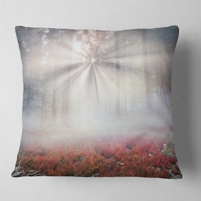 Sun Rays Illuminating Foggy Forest Landscape Photography Pillow Size: 16 x 16, Product Type: Throw Pillow