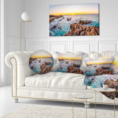 Sunrise at Freycinet Beach Landscape Printed Throw Pillow Size: 16 x 16