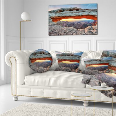 Sunrise at Mesa Arch in Canyon Lands Landscape Printed Throw Pillow Size: 16 x 16