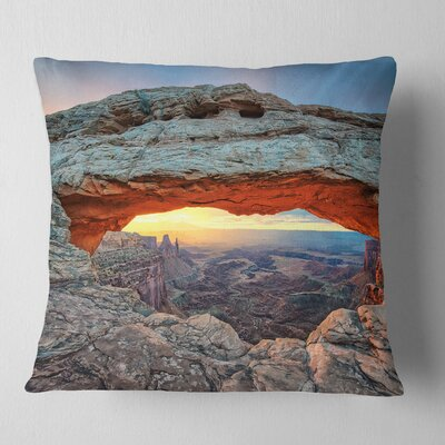 Sunrise at Mesa Arch in Canyon Lands Landscape Printed Pillow Size: 16 x 16, Product Type: Throw Pillow