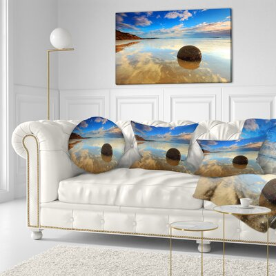 Sunrise at Moeraki Boulders Seashore Photo Throw Pillow Size: 20 x 20