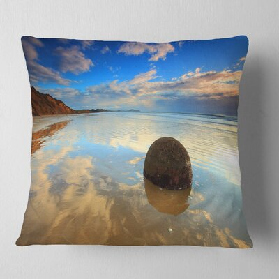 Sunrise at Moeraki Boulders Seashore Photo Pillow Size: 16 x 16, Product Type: Throw Pillow