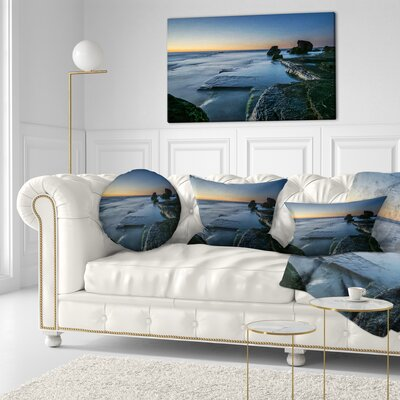 Sunrise at Sydney Seashore Seascape Throw Pillow Size: 20 x 20