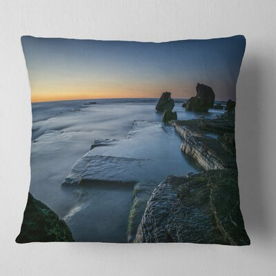 Sunrise at Sydney Seashore Seascape Pillow Size: 16 x 16, Product Type: Throw Pillow