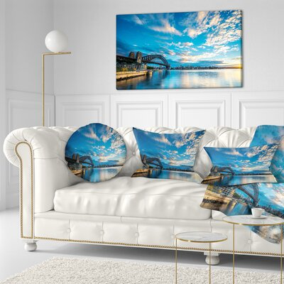 Sunrise from Sydney Harbor Bridge Seashore Throw Pillow Size: 16 x 16