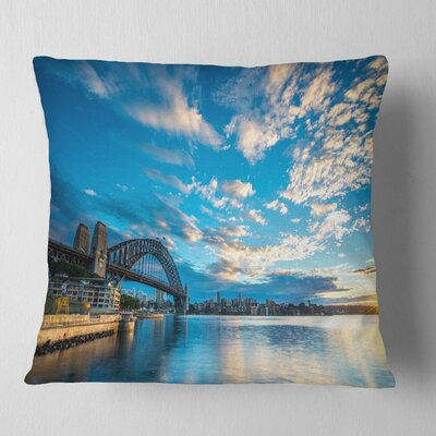 Sunrise from Sydney Harbor Bridge Seashore Pillow Size: 18 x 18, Product Type: Throw Pillow