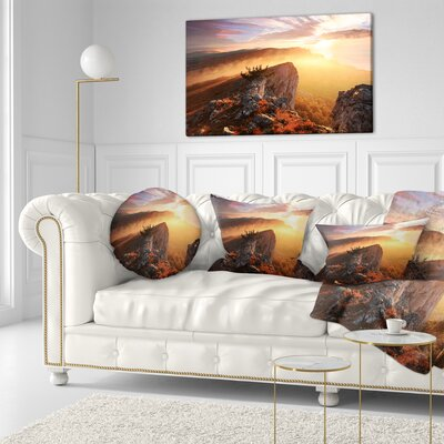Sunrise in Ai Petri Mountains Landscape Photo Throw Pillow Size: 20 x 20
