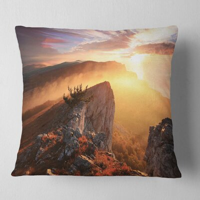 Sunrise in Ai Petri Mountains Landscape Photo Pillow Size: 18 x 18, Product Type: Throw Pillow