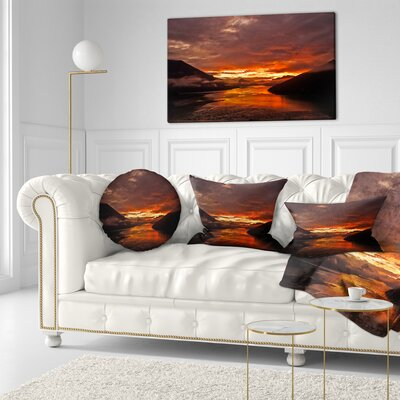 Sunrise in Cloudy Day New Zealand Landscape Photography Throw Pillow Size: 16 x 16