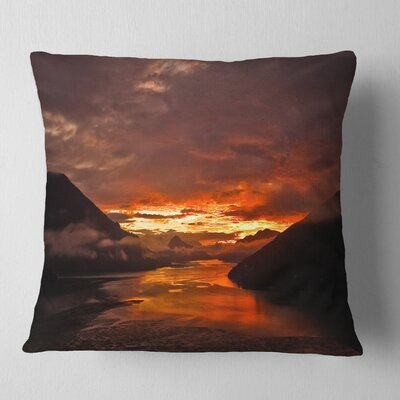 Sunrise in Cloudy Day New Zealand Landscape Photography Pillow Size: 16 x 16, Product Type: Throw Pillow