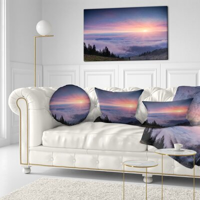 Sunrise in Sky OIver Mountains Landscape Photography Throw Pillow Size: 16 x 16