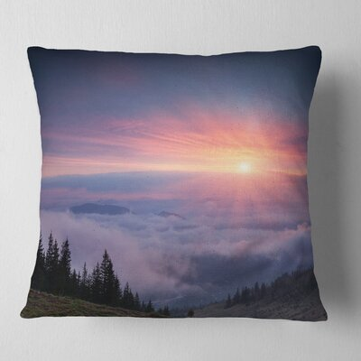 Sunrise in Sky over Mountains Landscape Photography Pillow Size: 18 x 18, Product Type: Throw Pillow