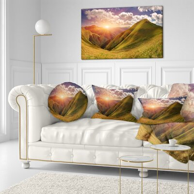 Sunrise over Mountains Landscape Photo Throw Pillow Size: 20 x 20