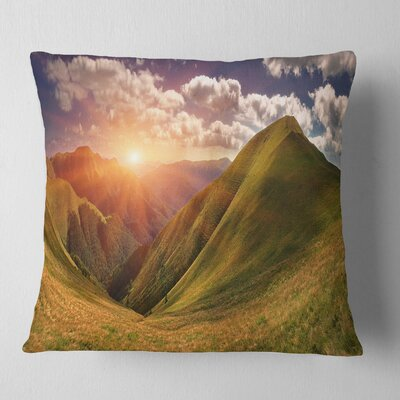Sunrise over Mountains Landscape Photo Pillow Size: 26 x 26, Product Type: Euro Pillow