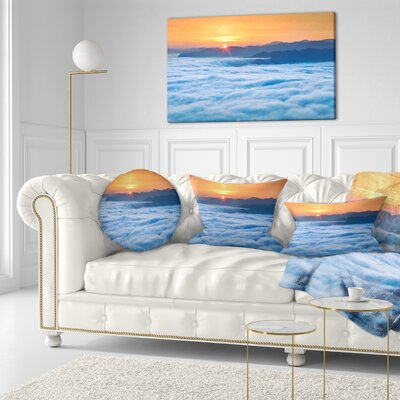 Sunrise over Misty Sea Waters Landscape Photography Throw Pillow Size: 20 x 20