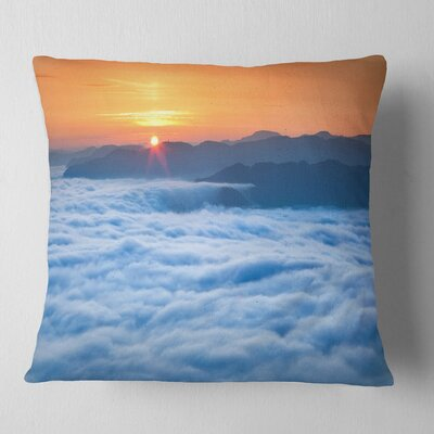 Sunrise over Misty Sea Waters Landscape Photography Pillow Size: 16 x 16, Product Type: Throw Pillow
